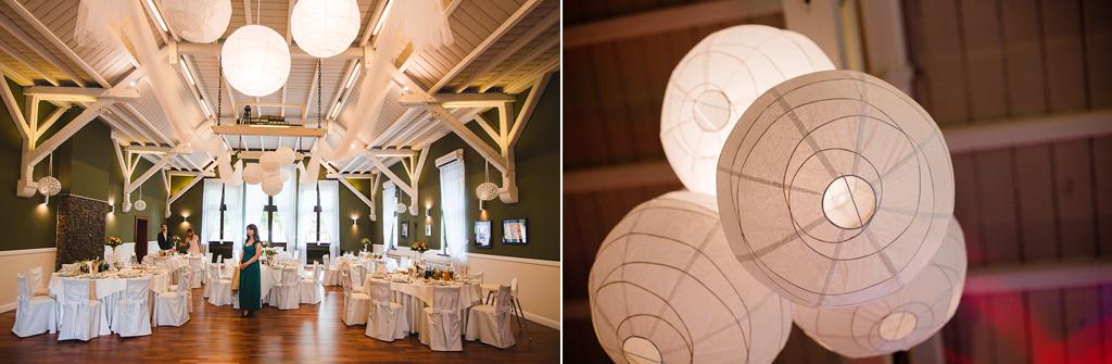biały drewniany sufit sala weselna