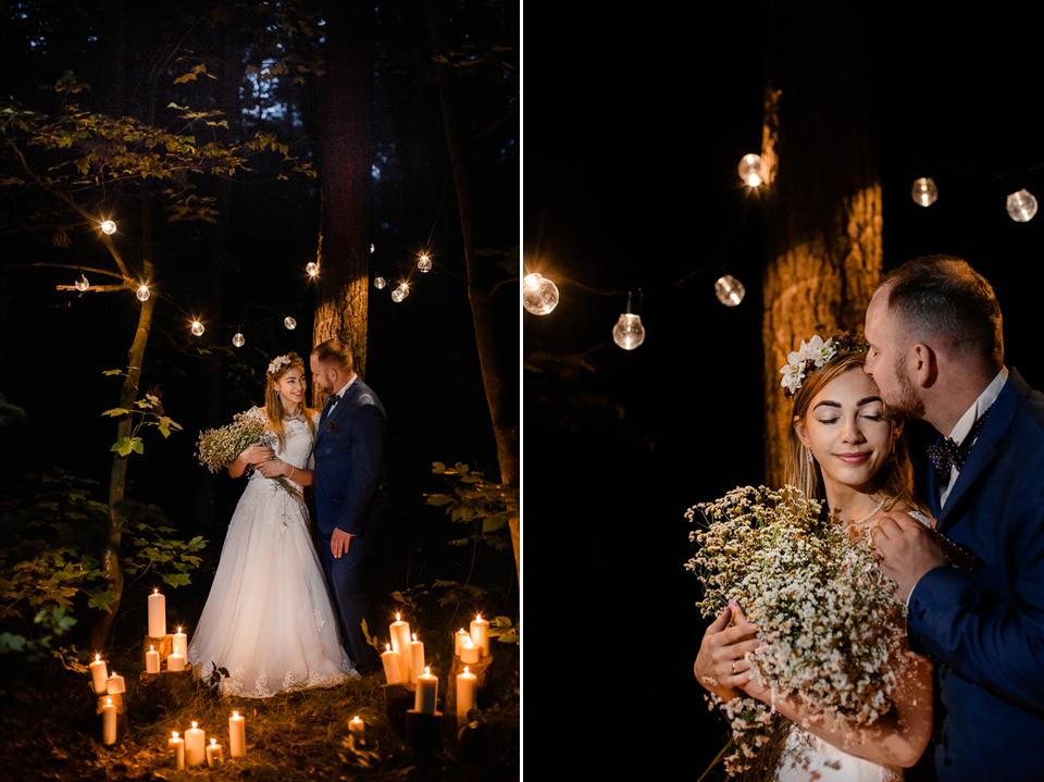 świeczki boho drewno ślub